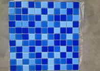 2 Color Assorted Ice Cracked Glass Mosaic Tile Sheets For Swimming Pool 36 Pcs